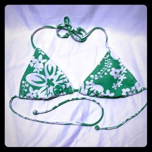 Old Navy Green and White Bikini Top Size XS